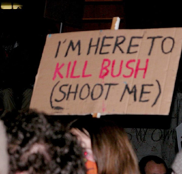Imheretokillbush Threats Against Bush At Protests